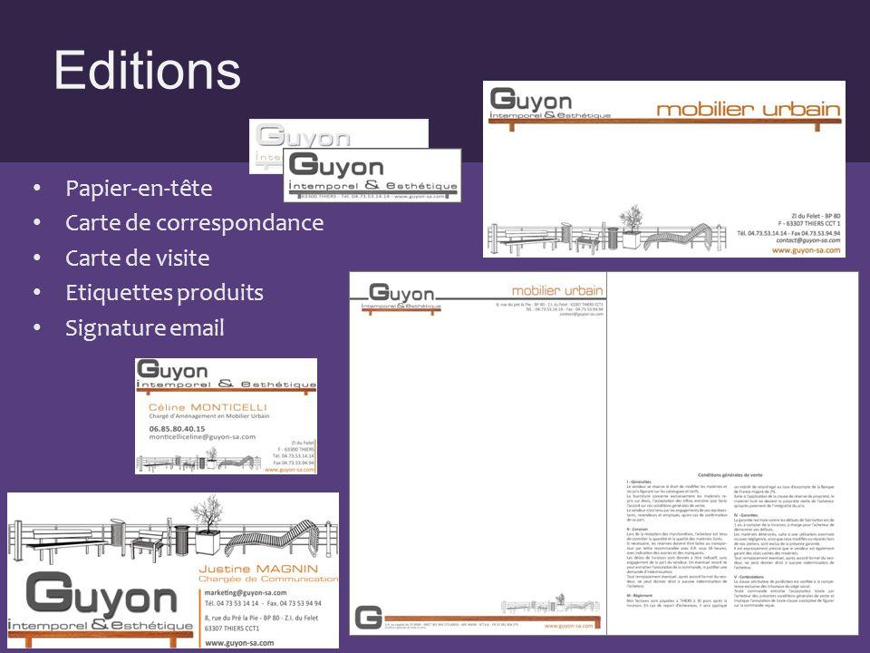 Editions Papier-en-tête Carte de correspondance Carte de visite Etiquettes produits Signature email