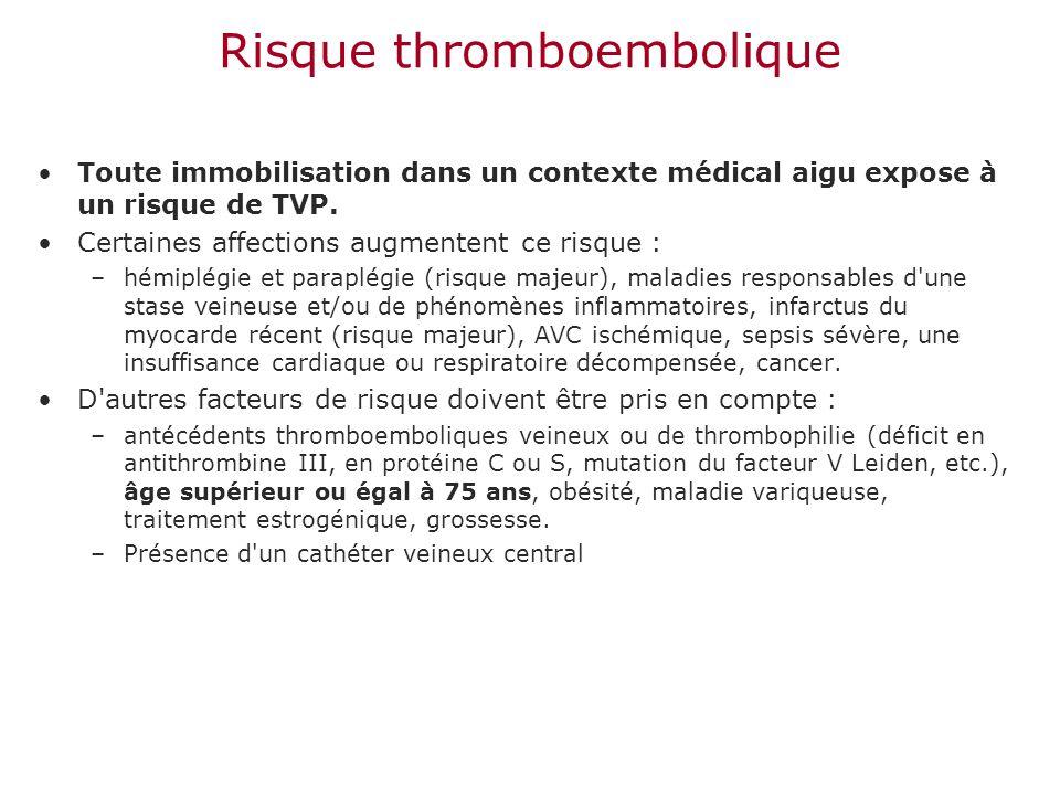 Risque thromboembolique Toute immobilisation dans un contexte médical aigu expose à un risque de TVP. Certaines affections augmentent ce risque : –hém