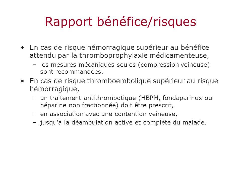 Rapport bénéfice/risques En cas de risque hémorragique supérieur au bénéfice attendu par la thromboprophylaxie médicamenteuse, –les mesures mécaniques