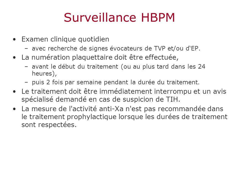 Surveillance HBPM Examen clinique quotidien –avec recherche de signes évocateurs de TVP et/ou dEP. La numération plaquettaire doit être effectuée, –av