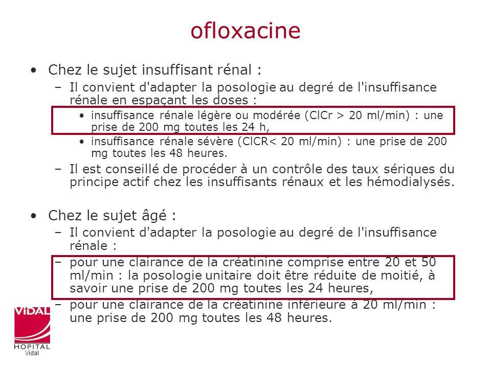 ofloxacine Chez le sujet insuffisant rénal : –Il convient d'adapter la posologie au degré de l'insuffisance rénale en espaçant les doses : insuffisanc