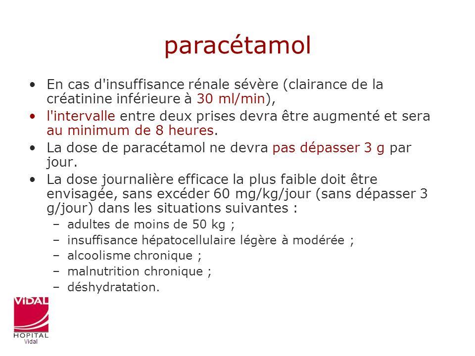 paracétamol En cas d'insuffisance rénale sévère (clairance de la créatinine inférieure à 30 ml/min), l'intervalle entre deux prises devra être augment