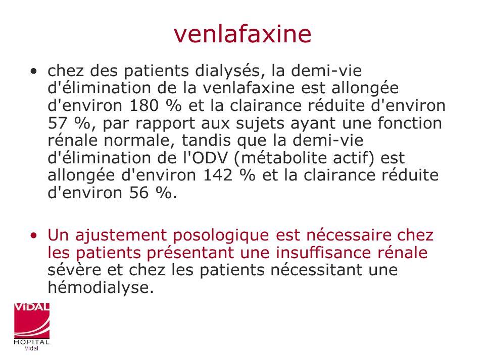 venlafaxine chez des patients dialysés, la demi-vie d'élimination de la venlafaxine est allongée d'environ 180 % et la clairance réduite d'environ 57