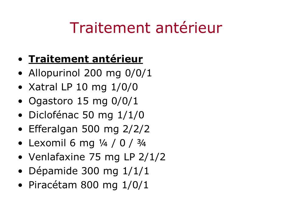 Traitement antérieur Allopurinol 200 mg 0/0/1 Xatral LP 10 mg 1/0/0 Ogastoro 15 mg 0/0/1 Diclofénac 50 mg 1/1/0 Efferalgan 500 mg 2/2/2 Lexomil 6 mg ¼
