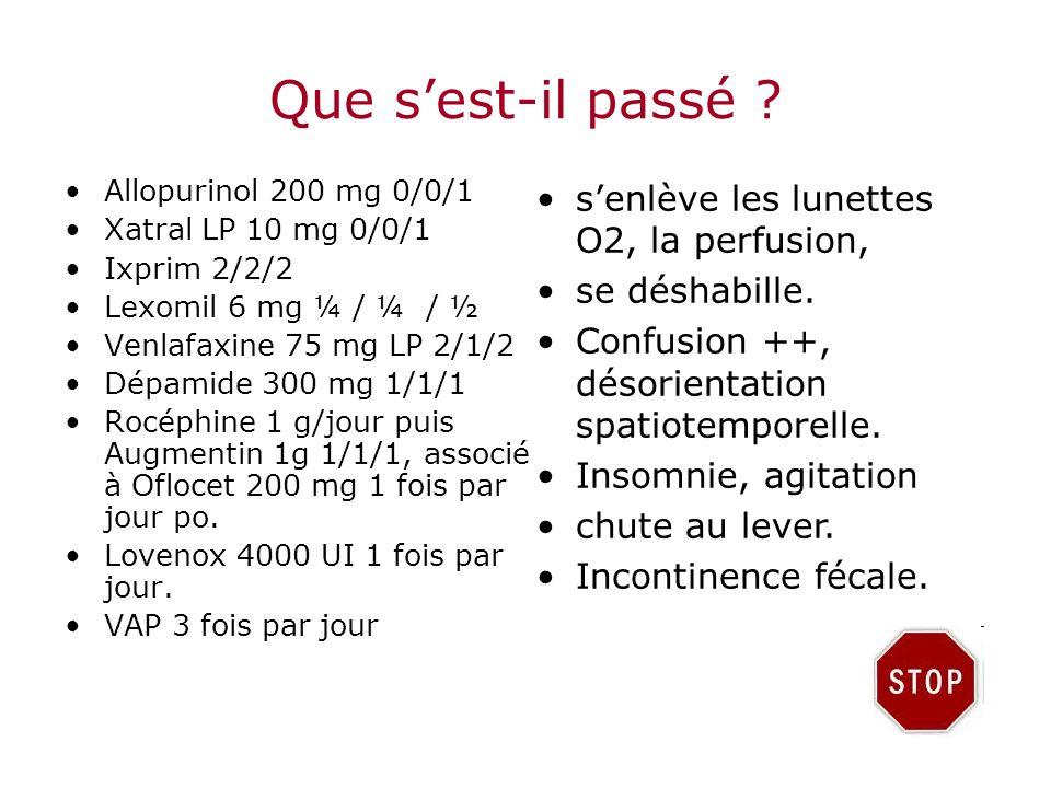 Que sest-il passé ? Allopurinol 200 mg 0/0/1 Xatral LP 10 mg 0/0/1 Ixprim 2/2/2 Lexomil 6 mg ¼ / ¼ / ½ Venlafaxine 75 mg LP 2/1/2 Dépamide 300 mg 1/1/
