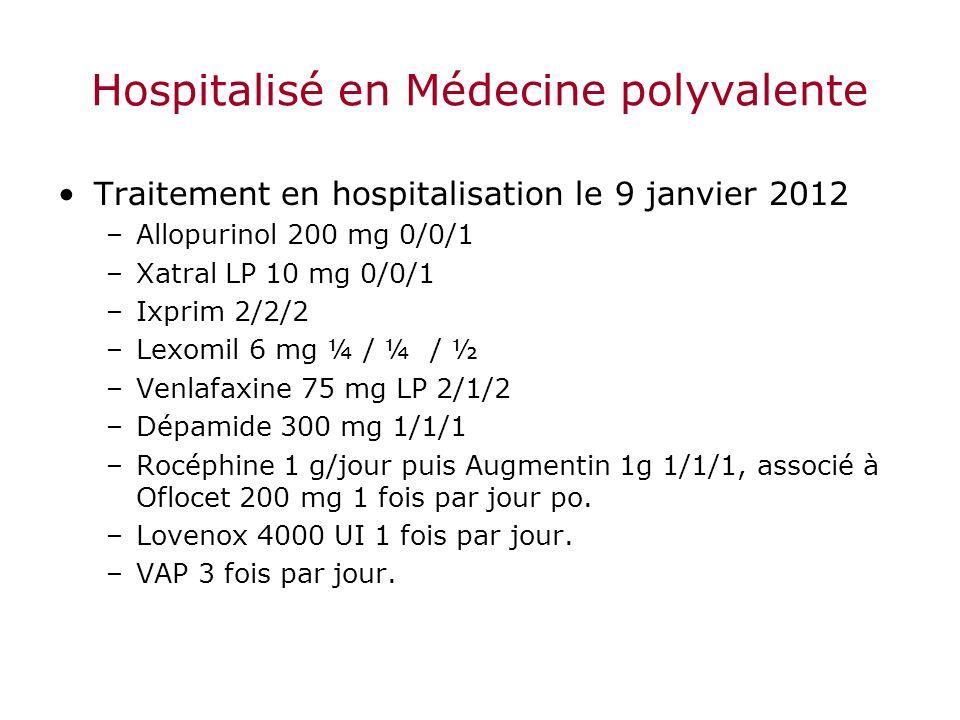 Hospitalisé en Médecine polyvalente Traitement en hospitalisation le 9 janvier 2012 –Allopurinol 200 mg 0/0/1 –Xatral LP 10 mg 0/0/1 –Ixprim 2/2/2 –Le