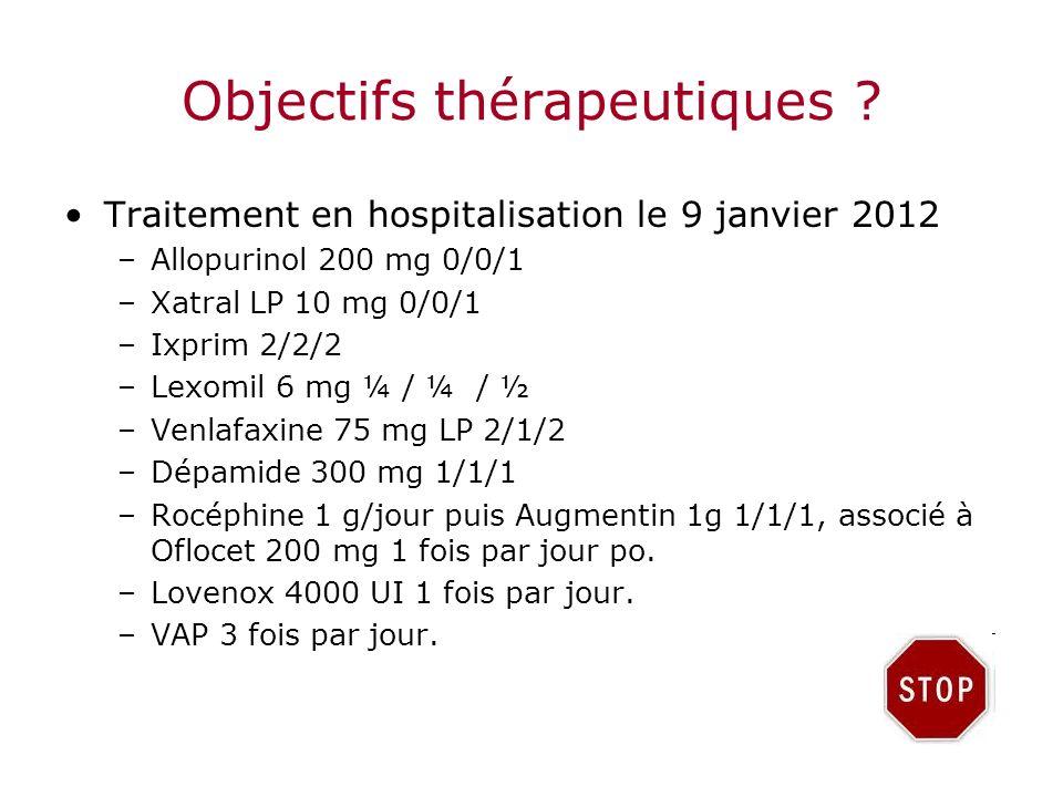 Objectifs thérapeutiques ? Traitement en hospitalisation le 9 janvier 2012 –Allopurinol 200 mg 0/0/1 –Xatral LP 10 mg 0/0/1 –Ixprim 2/2/2 –Lexomil 6 m