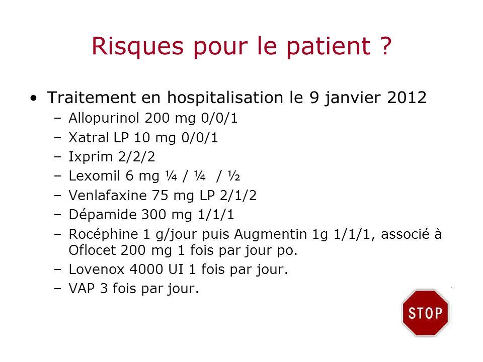 Risques pour le patient ? Traitement en hospitalisation le 9 janvier 2012 –Allopurinol 200 mg 0/0/1 –Xatral LP 10 mg 0/0/1 –Ixprim 2/2/2 –Lexomil 6 mg