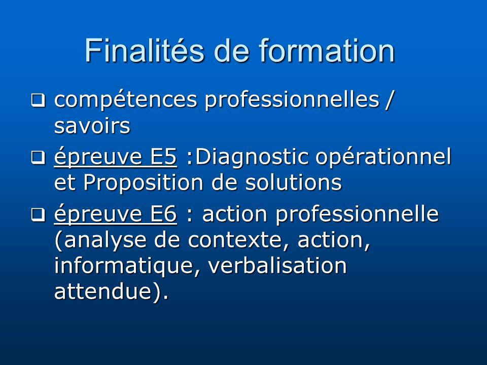 Finalités de formation compétences professionnelles / savoirs compétences professionnelles / savoirs épreuve E5 :Diagnostic opérationnel et Propositio