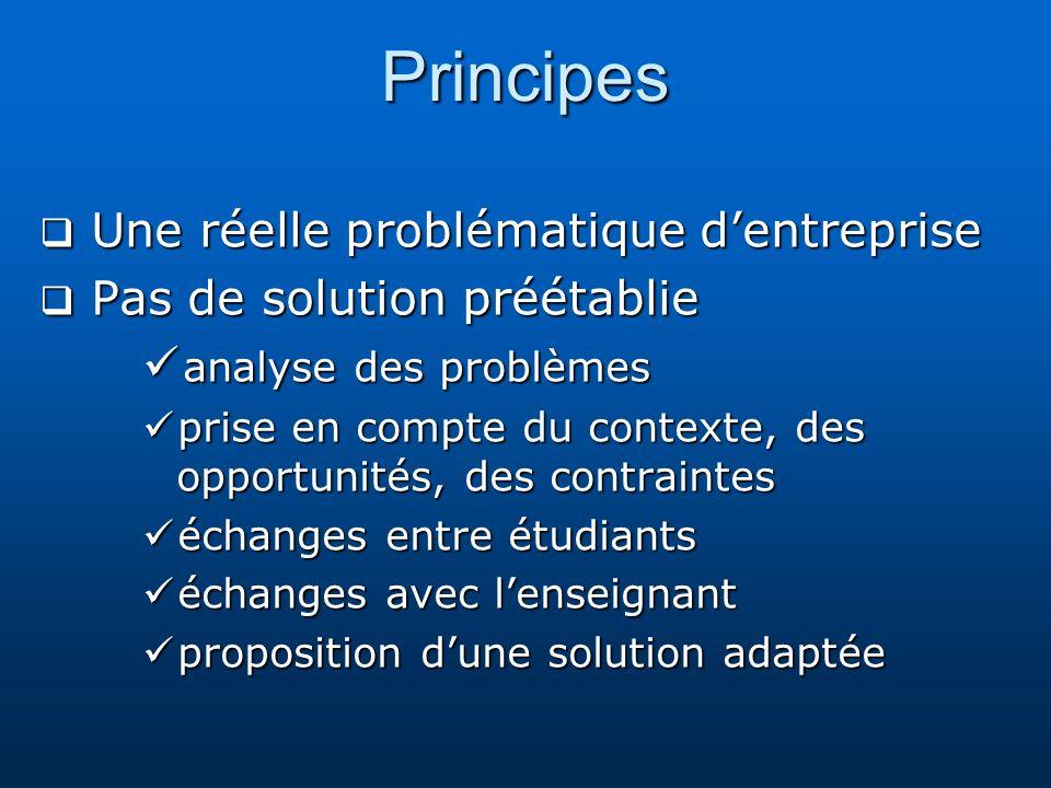 Principes Une réelle problématique dentreprise Une réelle problématique dentreprise Pas de solution préétablie Pas de solution préétablie analyse des