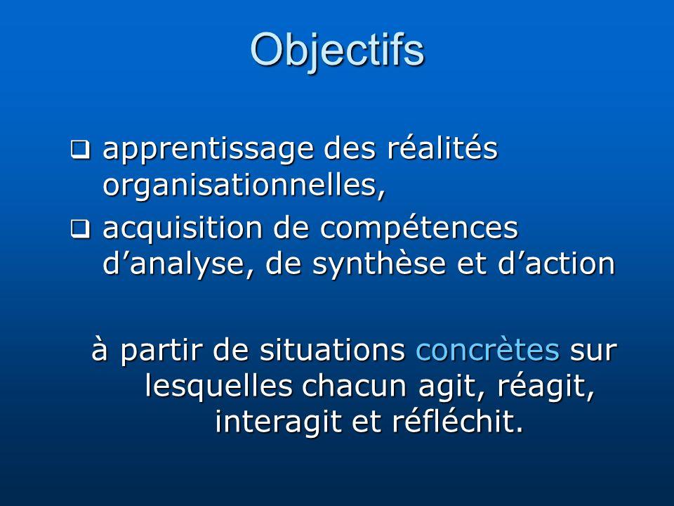 Objectifs apprentissage des réalités organisationnelles, apprentissage des réalités organisationnelles, acquisition de compétences danalyse, de synthè
