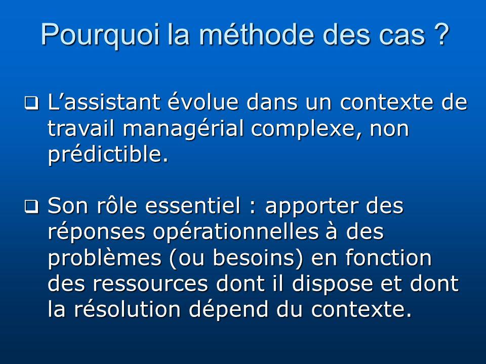 Pourquoi la méthode des cas ? Lassistant évolue dans un contexte de travail managérial complexe, non prédictible. Lassistant évolue dans un contexte d