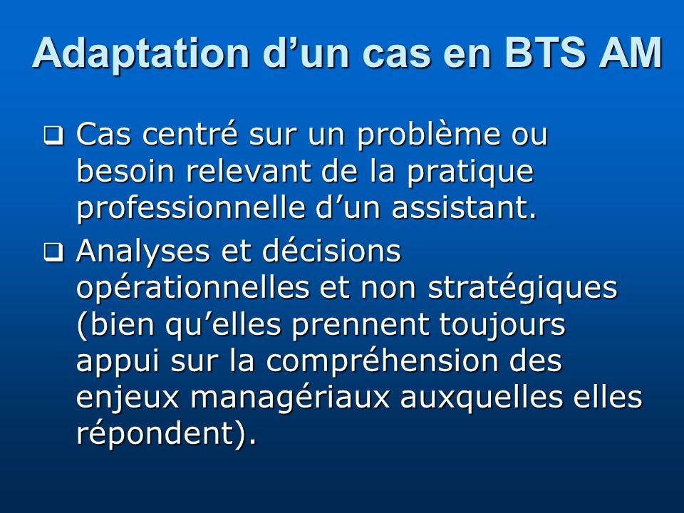 Adaptation dun cas en BTS AM Cas centré sur un problème ou besoin relevant de la pratique professionnelle dun assistant. Cas centré sur un problème ou
