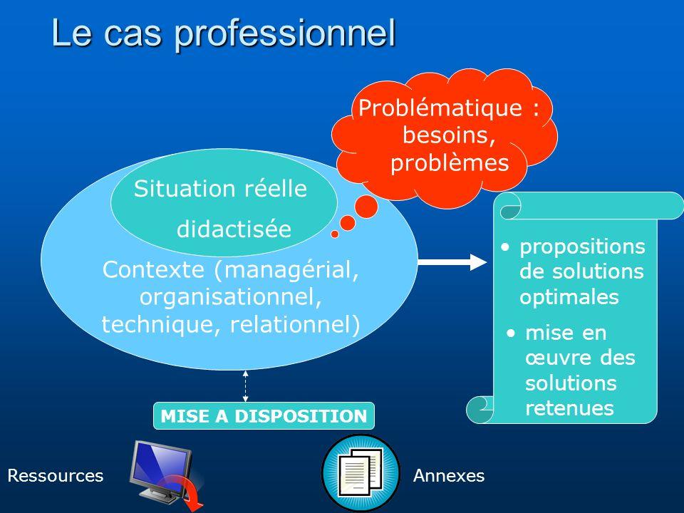 Le cas professionnel Situation réelle didactisée Contexte (managérial, organisationnel, technique, relationnel) Problématique : besoins, problèmes Ann