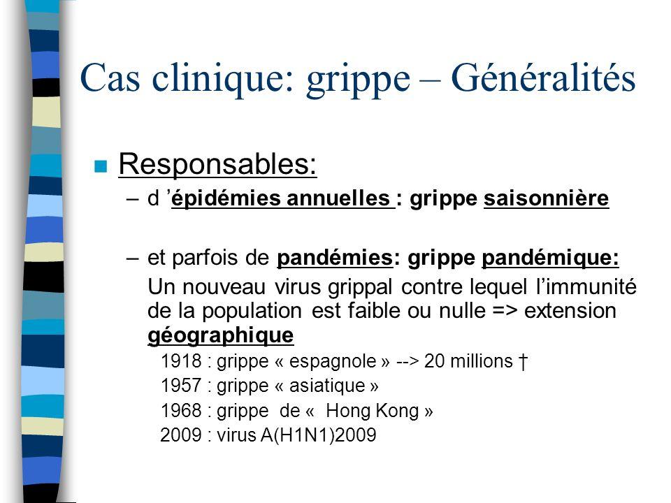 n Responsables: –d épidémies annuelles : grippe saisonnière –et parfois de pandémies: grippe pandémique: Un nouveau virus grippal contre lequel limmun
