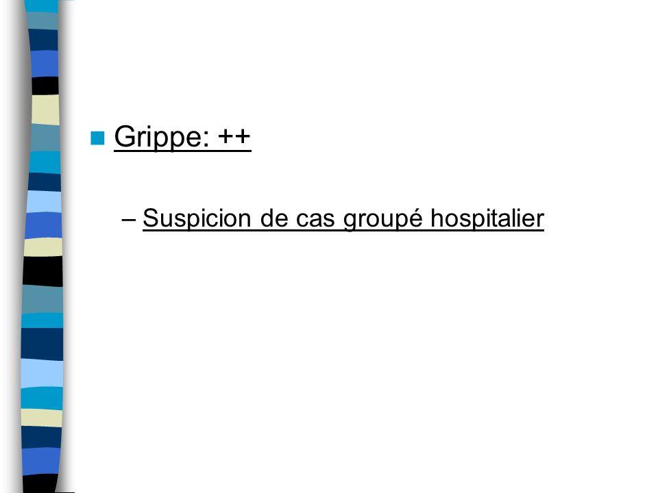 Grippe: ++ –Suspicion de cas groupé hospitalier