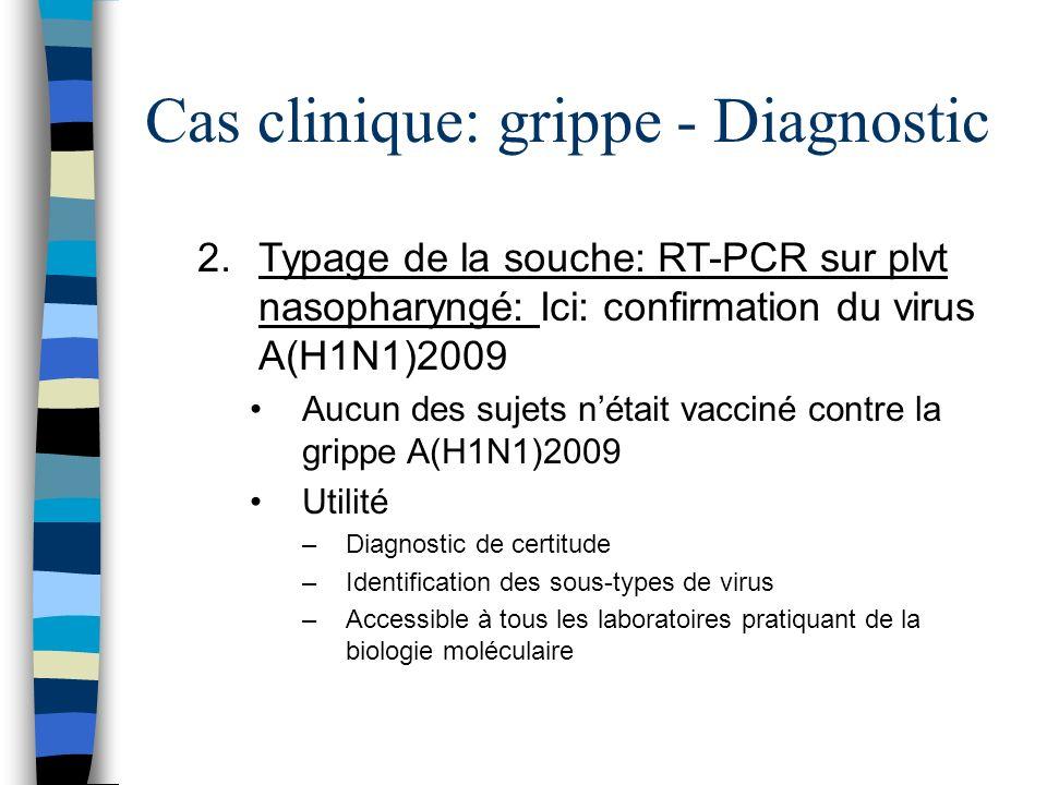 Cas clinique: grippe - Diagnostic 2.Typage de la souche: RT-PCR sur plvt nasopharyngé: Indications (recommandations 2010-2011) –Patients avec des facteurs de risque –Patients présentant des signes de gravité Prélèvement –Ecouvillonnage nasal avec un dispositif de type virocult (écouvillon munis dune brossette avec un milieu de transport) –Envoi en triple emballage quand lanalyse est sous traitée