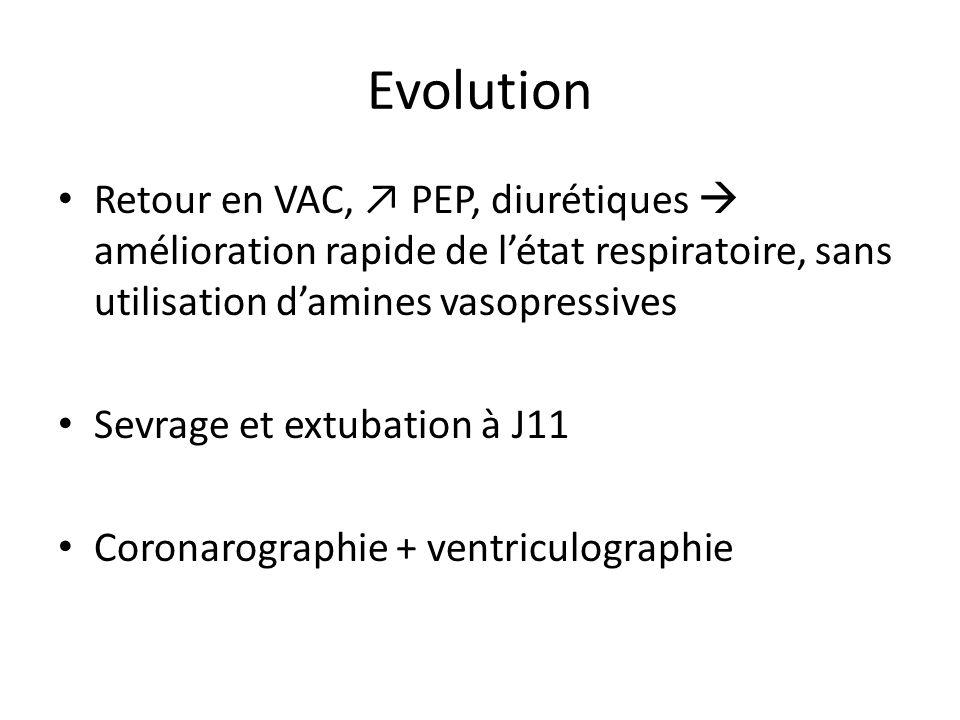 Evolution Retour en VAC, PEP, diurétiques amélioration rapide de létat respiratoire, sans utilisation damines vasopressives Sevrage et extubation à J1