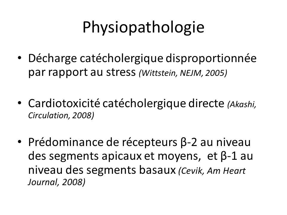 Physiopathologie Décharge catécholergique disproportionnée par rapport au stress (Wittstein, NEJM, 2005) Cardiotoxicité catécholergique directe (Akash