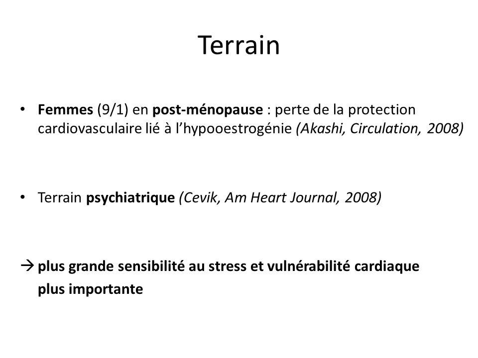 Terrain Femmes (9/1) en post-ménopause : perte de la protection cardiovasculaire lié à lhypooestrogénie (Akashi, Circulation, 2008) Terrain psychiatri