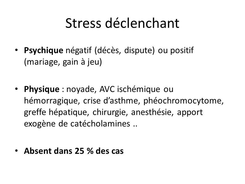 Stress déclenchant Psychique négatif (décès, dispute) ou positif (mariage, gain à jeu) Physique : noyade, AVC ischémique ou hémorragique, crise dasthm