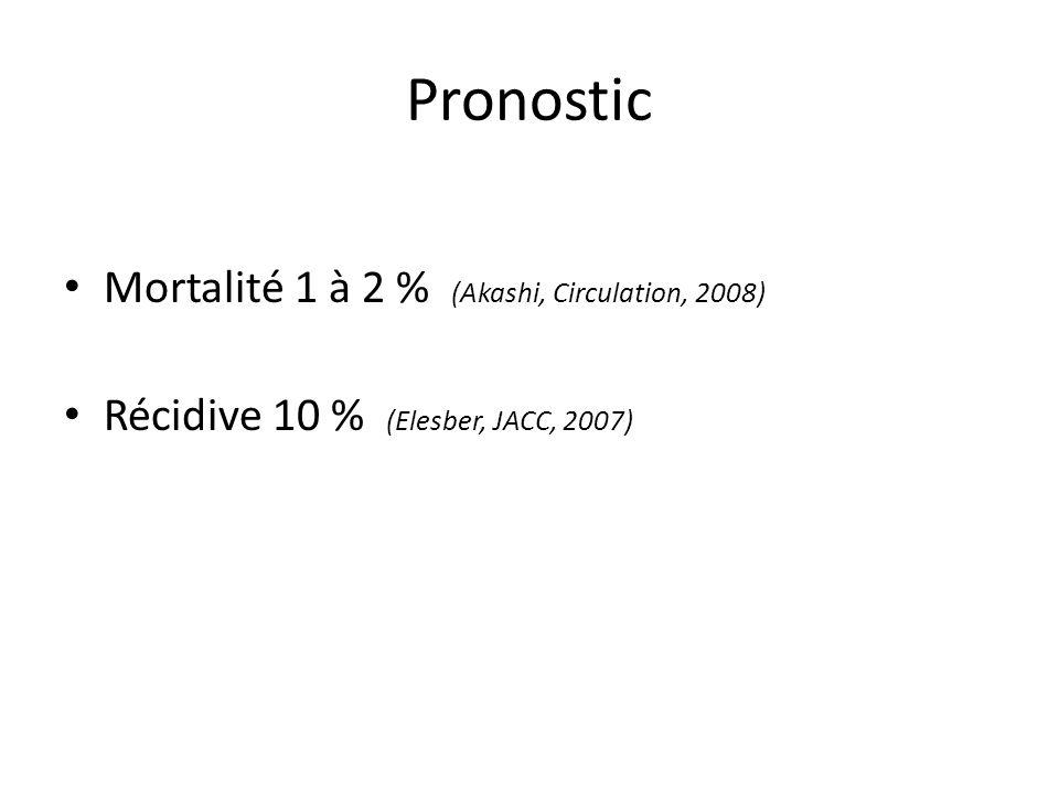 Pronostic Mortalité 1 à 2 % (Akashi, Circulation, 2008) Récidive 10 % (Elesber, JACC, 2007)