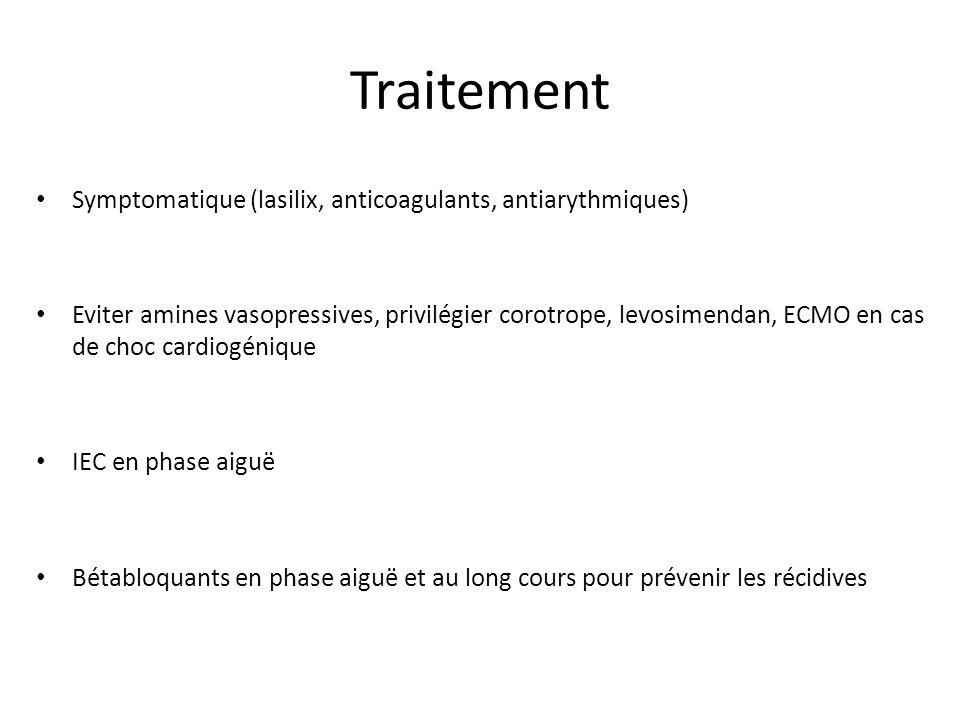 Critères Mayo Clinic 1)Troubles cinétiques des segments moyens +/- apicaux du VG, ne correspondant pas à une systématisation coronaire 2)Pas de lésion coronaire 3)Anomalies ECG (sus-décalage et/ou T<0) ou discrète élévation du taux de troponine 4)Pas de phéochromocytome ni de myocardite