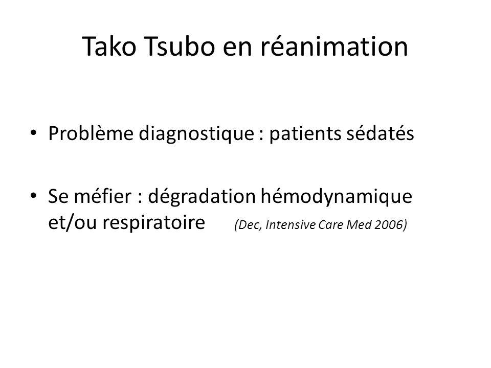 Tako Tsubo en réanimation Problème diagnostique : patients sédatés Se méfier : dégradation hémodynamique et/ou respiratoire (Dec, Intensive Care Med 2