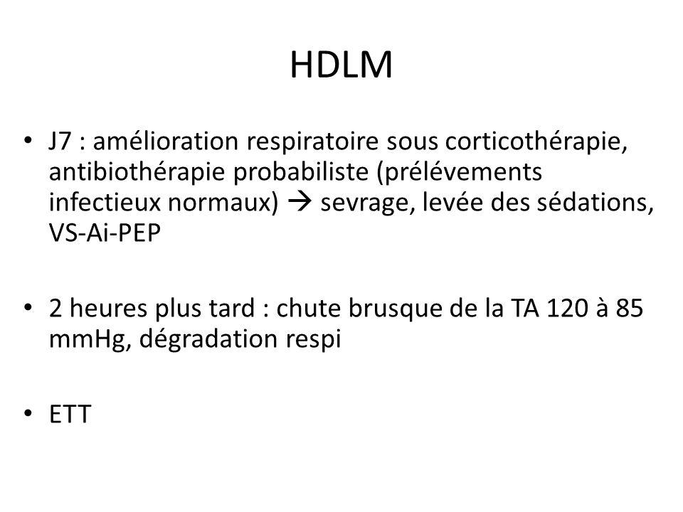 HDLM J7 : amélioration respiratoire sous corticothérapie, antibiothérapie probabiliste (prélévements infectieux normaux) sevrage, levée des sédations,