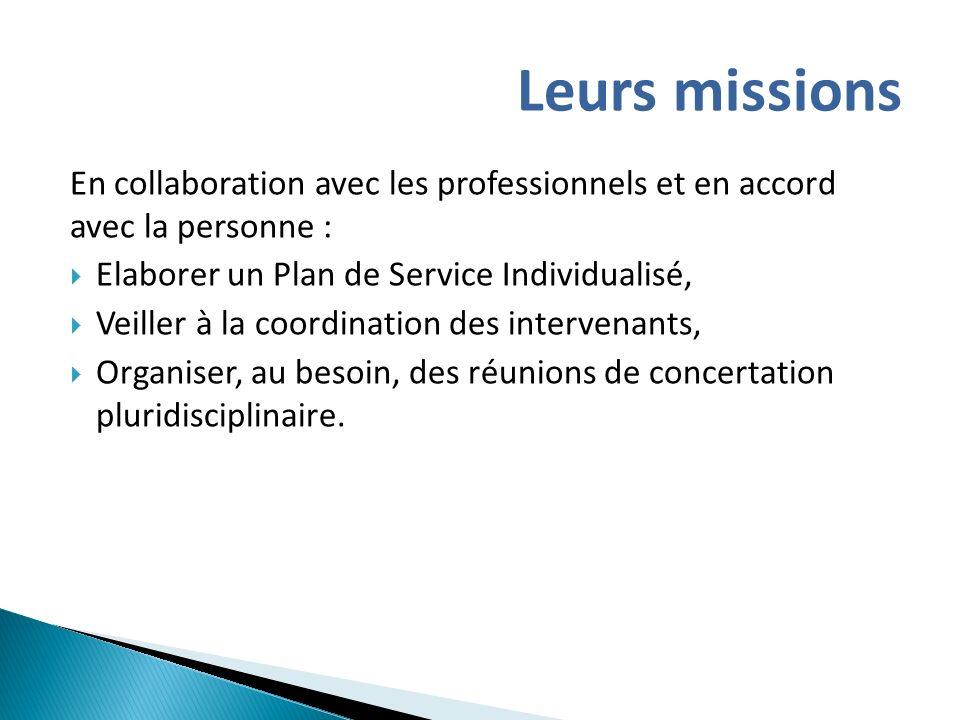 En collaboration avec les professionnels et en accord avec la personne : Elaborer un Plan de Service Individualisé, Veiller à la coordination des inte
