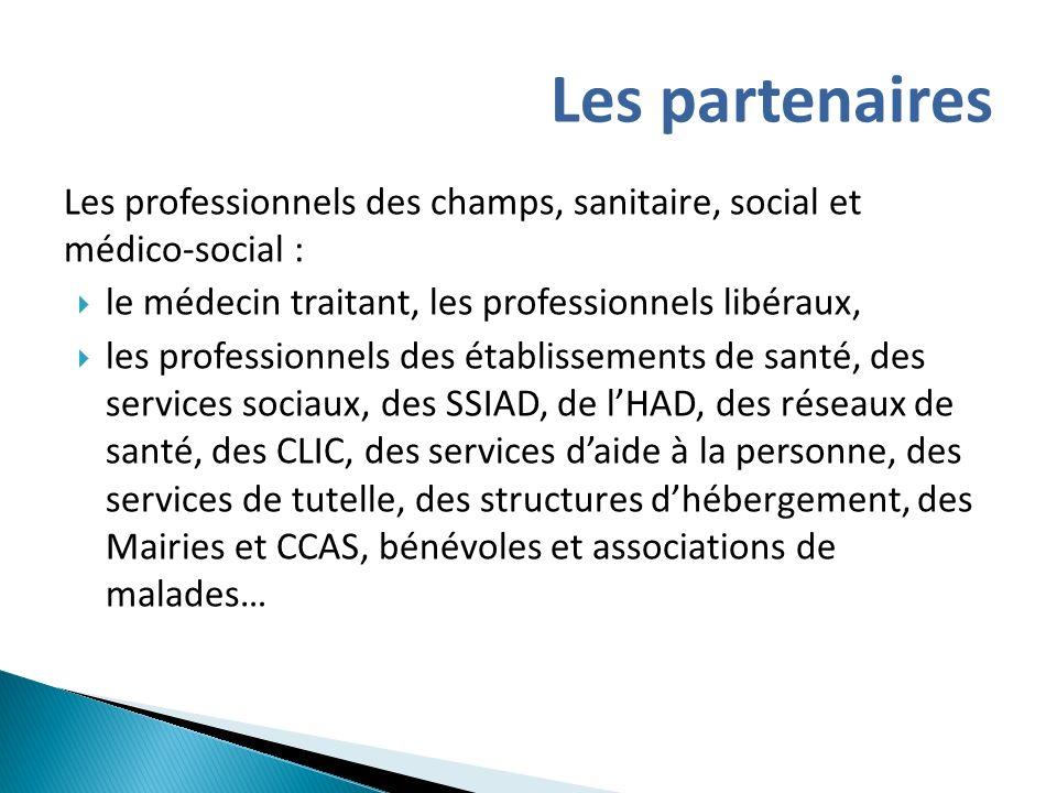 Les professionnels des champs, sanitaire, social et médico-social : le médecin traitant, les professionnels libéraux, les professionnels des établisse