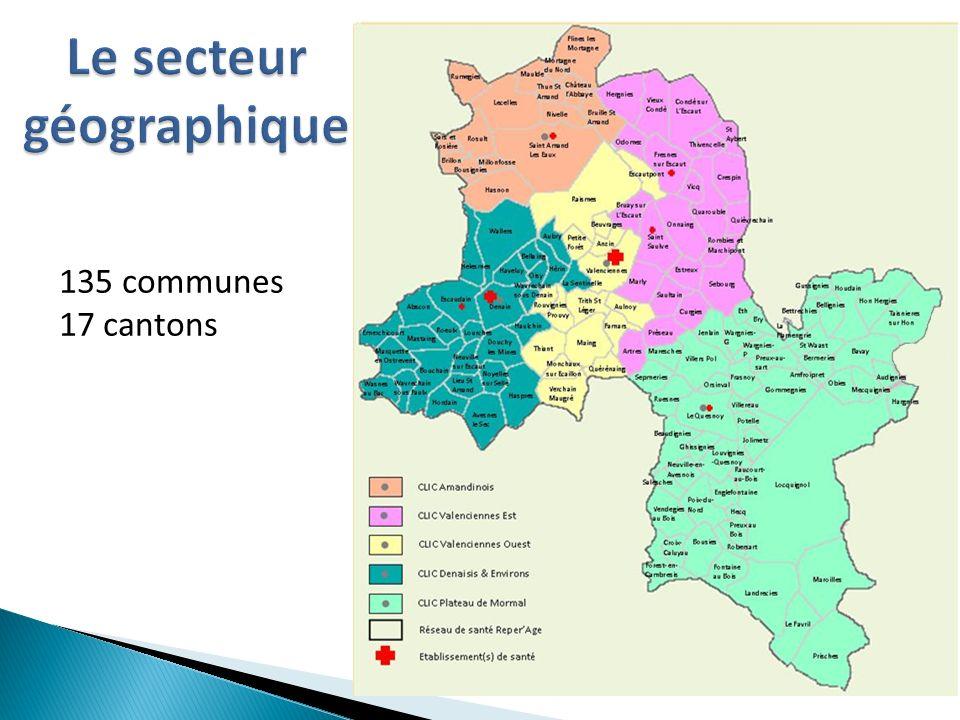 Le secteur géographique 135 communes 17 cantons