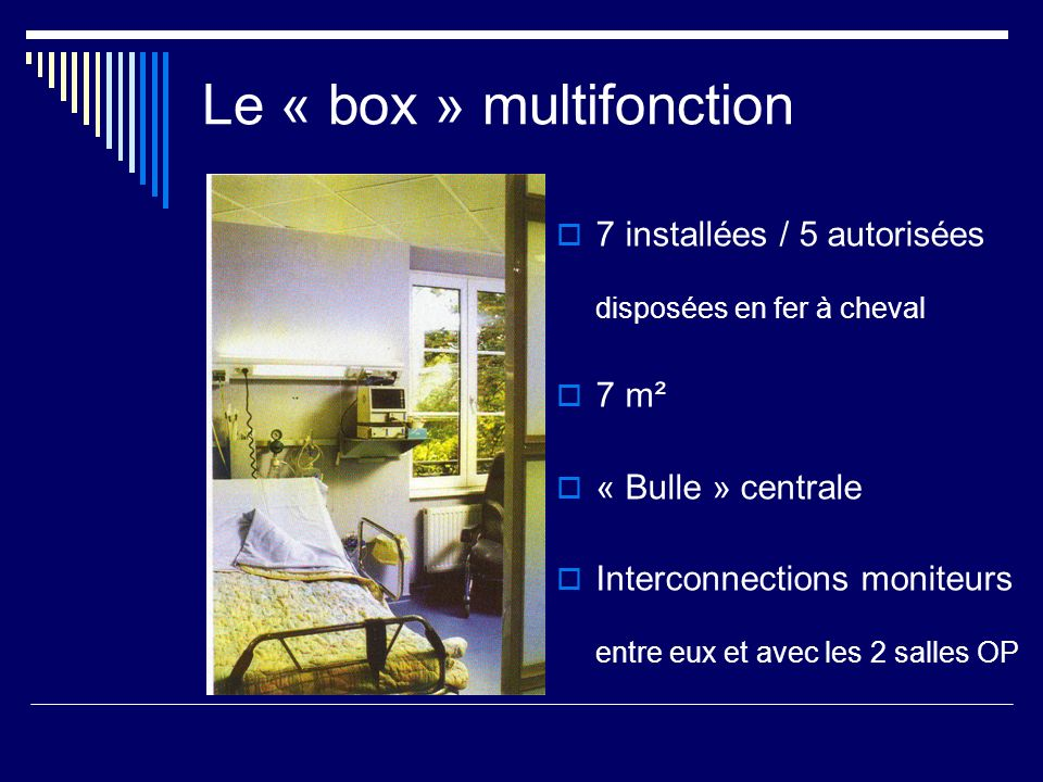 Le « box » multifonction 7 installées / 5 autorisées disposées en fer à cheval 7 m² « Bulle » centrale Interconnections moniteurs entre eux et avec le
