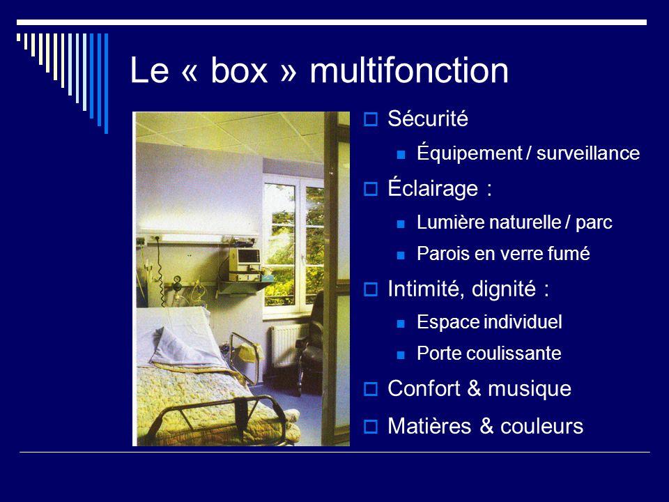 Le « box » multifonction Sécurité Équipement / surveillance Éclairage : Lumière naturelle / parc Parois en verre fumé Intimité, dignité : Espace indiv