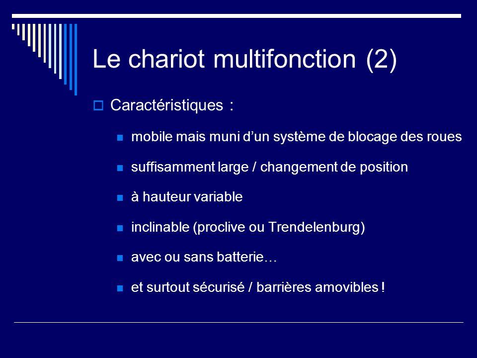 Le chariot multifonction (2) Caractéristiques : mobile mais muni dun système de blocage des roues suffisamment large / changement de position à hauteu