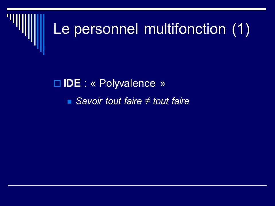 Le personnel multifonction (1) IDE : « Polyvalence » Savoir tout faire tout faire
