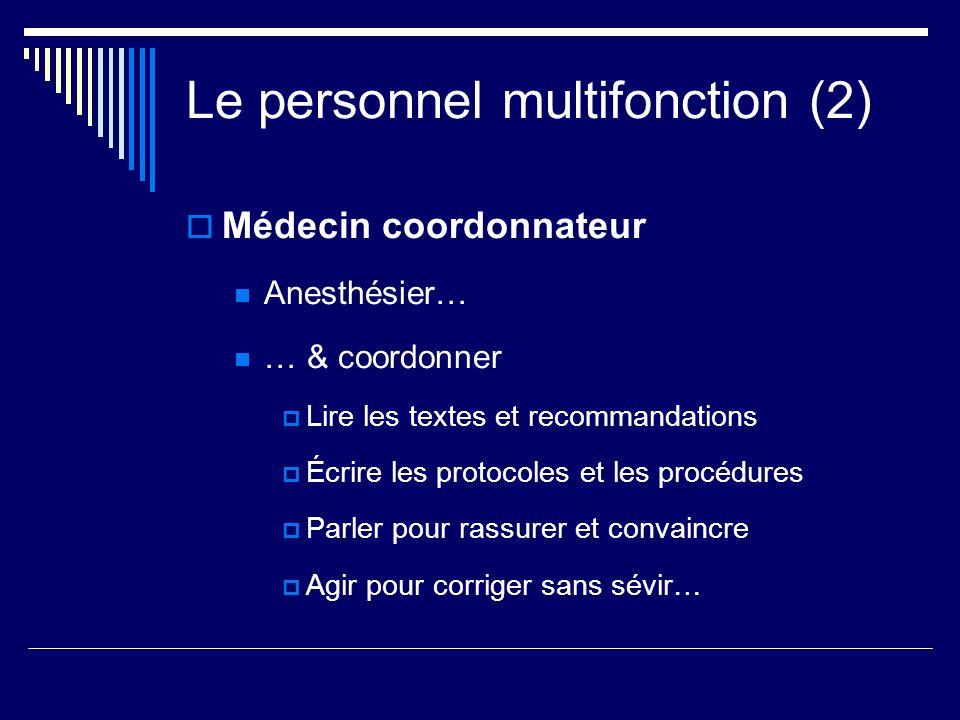 Le personnel multifonction (2) Médecin coordonnateur Anesthésier… … & coordonner Lire les textes et recommandations Écrire les protocoles et les procé