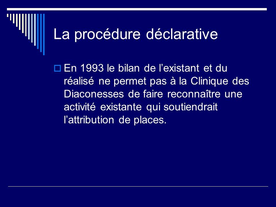 La procédure déclarative En 1993 le bilan de lexistant et du réalisé ne permet pas à la Clinique des Diaconesses de faire reconnaître une activité exi