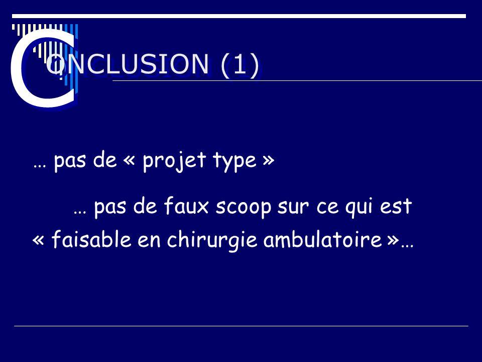 ONCLUSION (1) C C … pas de « projet type » … pas de faux scoop sur ce qui est « faisable en chirurgie ambulatoire »…