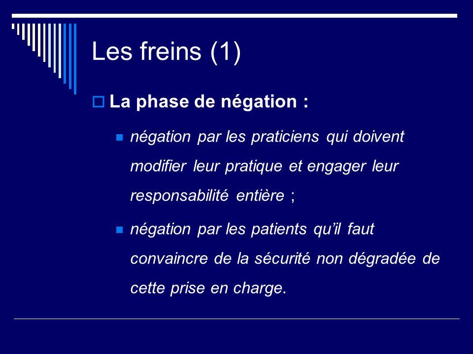 Les freins (1) La phase de négation : négation par les praticiens qui doivent modifier leur pratique et engager leur responsabilité entière ; négation