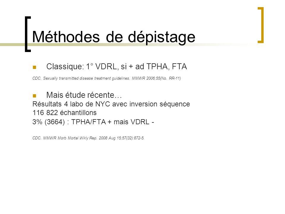 Méthodes de dépistage Classique: 1° VDRL, si + ad TPHA, FTA CDC. Sexually transmitted disease treatment guidelines. MMWR 2006;55(No. RR-11) Mais étude