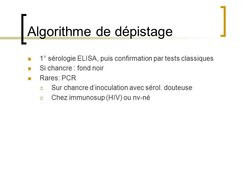 Algorithme de dépistage 1° sérologie ELISA, puis confirmation par tests classiques Si chancre : fond noir Rares: PCR Sur chancre dinoculation avec sér