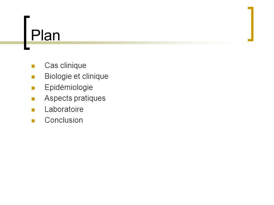 Plan Cas clinique Biologie et clinique Epidémiologie Aspects pratiques Laboratoire Conclusion
