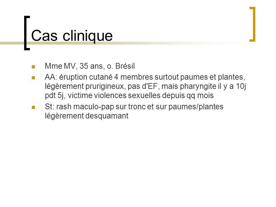 Cas clinique Mme MV, 35 ans, o. Brésil AA: éruption cutané 4 membres surtout paumes et plantes, légèrement prurigineux, pas d'EF, mais pharyngite il y