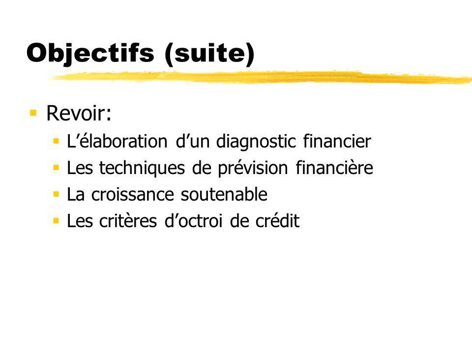 Objectifs (suite) Revoir: Lélaboration dun diagnostic financier Les techniques de prévision financière La croissance soutenable Les critères doctroi de crédit
