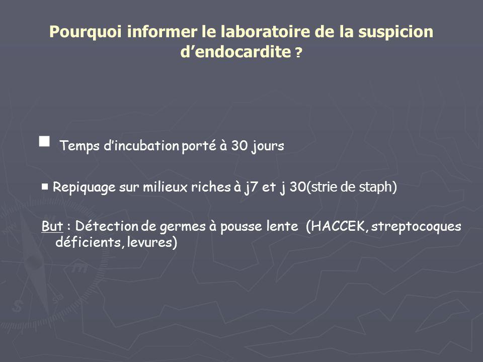 Pourquoi informer le laboratoire de la suspicion dendocardite ? Temps dincubation porté à 30 jours Repiquage sur milieux riches à j7 et j 30 (strie de