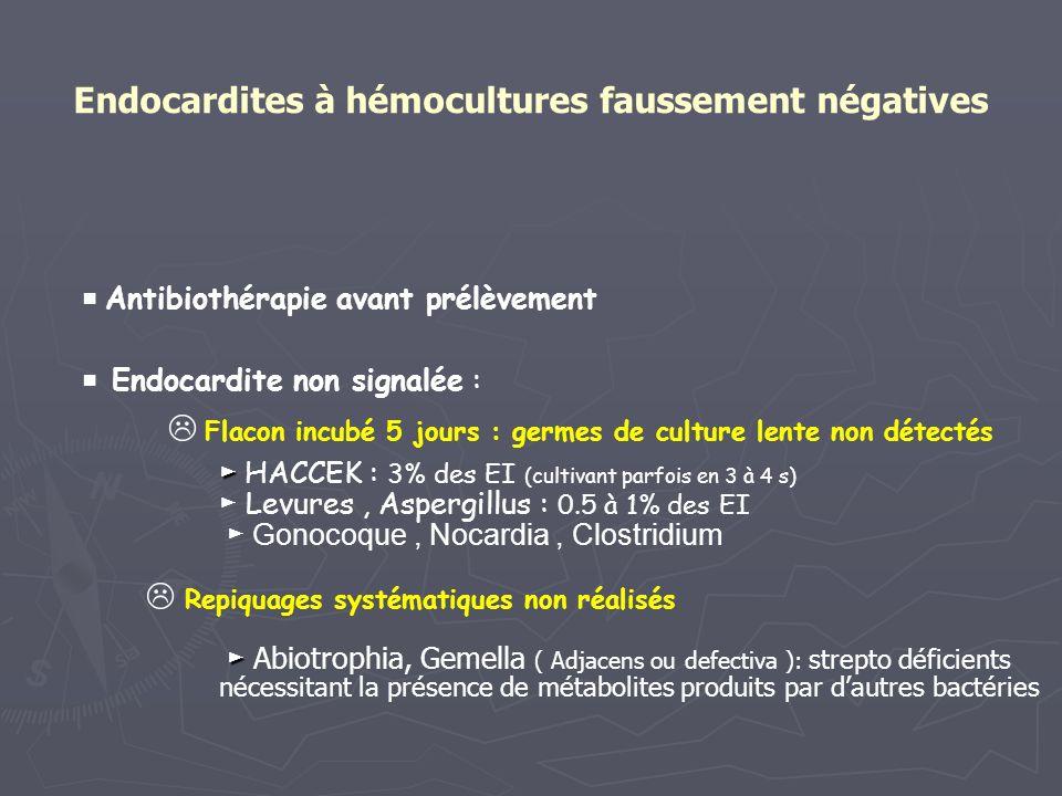 Endocardites à hémocultures faussement négatives Antibiothérapie avant prélèvement Endocardite non signalée : Flacon incubé 5 jours : germes de cultur