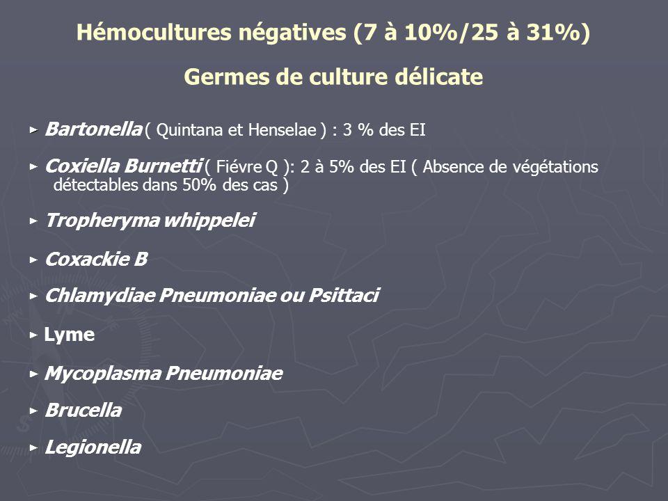 Hémocultures négatives (7 à 10%/25 à 31%) Germes de culture délicate Bartonella ( Quintana et Henselae ) : 3 % des EI Coxiella Burnetti ( Fiévre Q ):