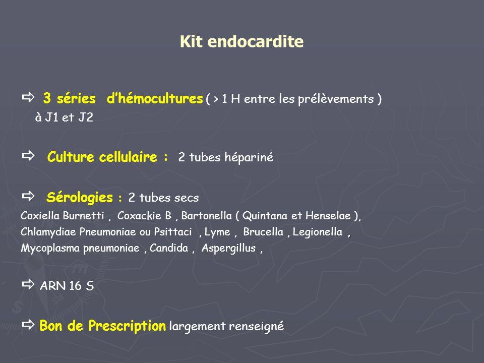 Kit endocardite 3 séries dhémocultures ( > 1 H entre les prélèvements ) à J1 et J2 Culture cellulaire : 2 tubes hépariné Sérologies : 2 tubes secs Cox