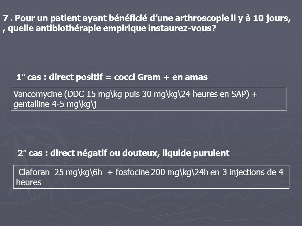 7. Pour un patient ayant bénéficié dune arthroscopie il y à 10 jours,, quelle antibiothérapie empirique instaurez-vous? Vancomycine (DDC 15 mg\kg puis